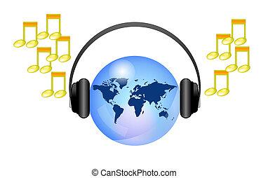 la terre, écouteurs, musique, ligne
