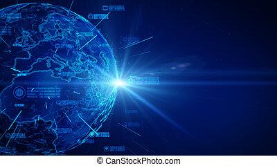 la terre, élément, meublé, protection, données, network., concept., nasa, personnel, assurer, sécurité, cyber