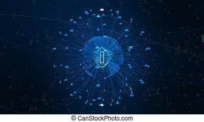 la terre, élément, meublé, sécurité, protection, bouclier, cyber, données, concept., icône, nasa, personnel, réseau global, assurer