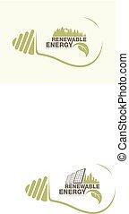 la terre, énergie, concept, bulb., renouvelable