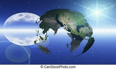 la terre, étoiles, lune