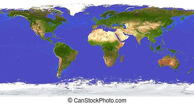 la terre, aérien, carte
