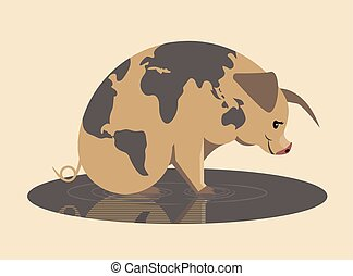 la terre, année, jaune, cochon