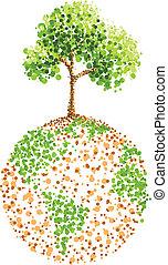 la terre, arbre, peinture, point