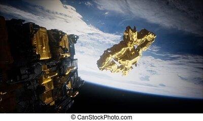 la terre, armada, nearing, étranger, vaisseau spatial