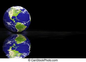 la terre, arrière-plan noir