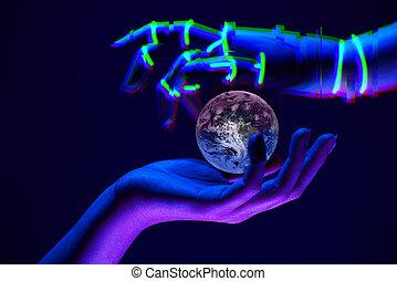 la terre, association, ceci, nature., technologie, robot's, symbole, meublé, mains, nasa, savety, éléments, entre, gens, image dame