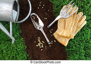 la terre, assortiment, outils, jardin