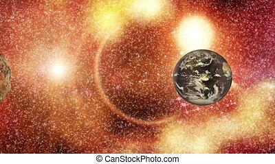 la terre, astéroïde, -, espace