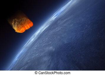 la terre, atmosphère, météore, frappant