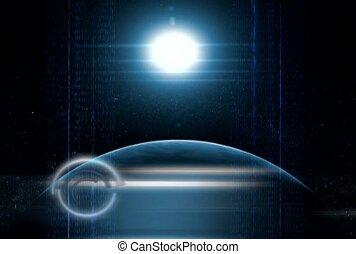 la terre, au-delà, lune
