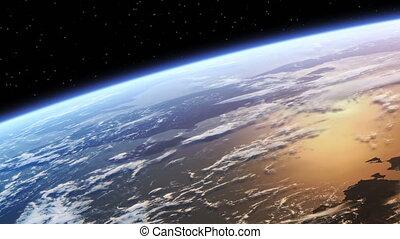 la terre, au-dessus, vol, planète