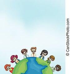 la terre, autour de, gens fonctionnement