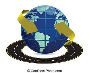 la terre, autour de, route