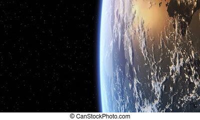 la terre, autour de, vol, planète
