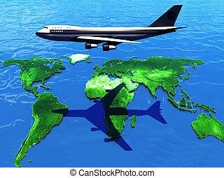 la terre, avion, carte