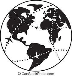 la terre, avion, sur, globe, vol, vecteur, chemins