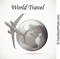 la terre, avion, voler, autour de