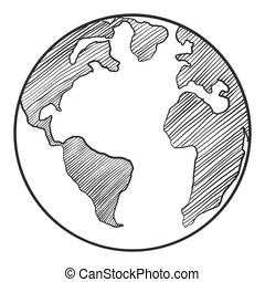 la terre, blanc, dessin, arrière-plan.