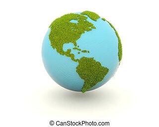 la terre, blanc, herbe, isolé