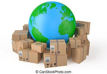 la terre, boîtes, carton, autour de, globe