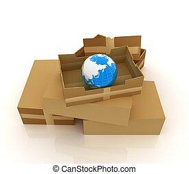 la terre, boîtes, carton
