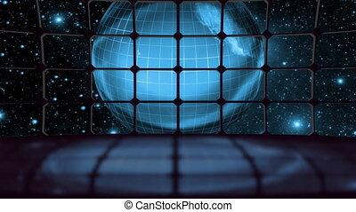 la terre, boucle, virtuel, ensemble, écrans