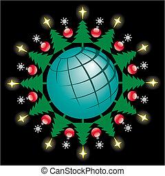 la terre, cercle, noël arbres