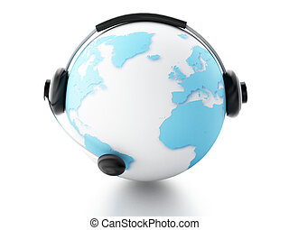 la terre, communication, global, globe., concept