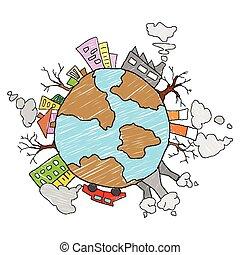 la terre, concept, jour, sauver