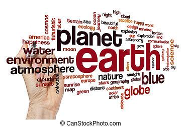 la terre, concept, mot, nuage