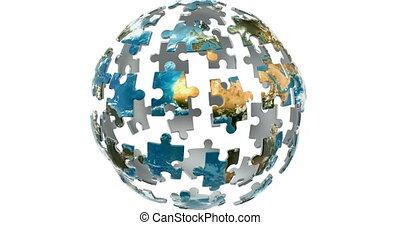 la terre, concept., planète, rendre, isolé, animation, fond blanc, puzzles, 3d