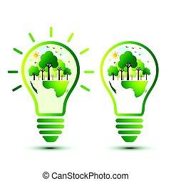 la terre, concept, vert
