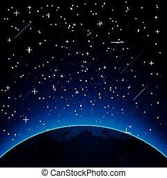 la terre, copie, étoiles, space.