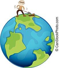 la terre, creuser, homme