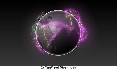 la terre, croissant, noir, réseau, global