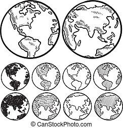 la terre, croquis, vues