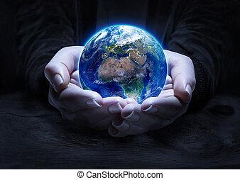 la terre, dans, mains, -, environnement