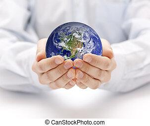la terre, dans, mains