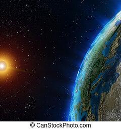 la terre, depuis, espace
