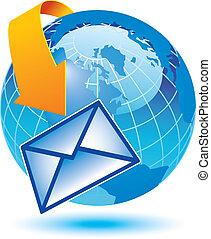 la terre, email, entourer