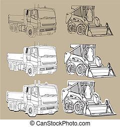 la terre, en mouvement, camions, équipement