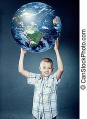 la terre, enfant, sien, tenant mains
