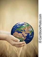 la terre, enfant, tenant mains
