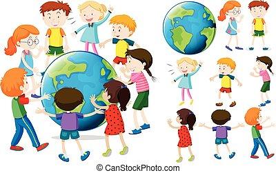 la terre, enfants, autour de
