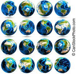 La terre, ensemble, grand, icônes