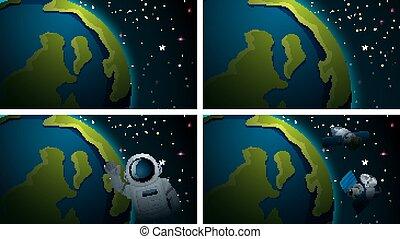 la terre, ensemble, scènes, espace