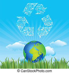 la terre, et, environnement, icône