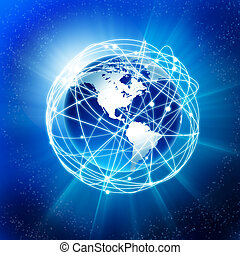 la terre, et, les, communication