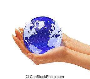 la terre, femme, globe., tenant mains